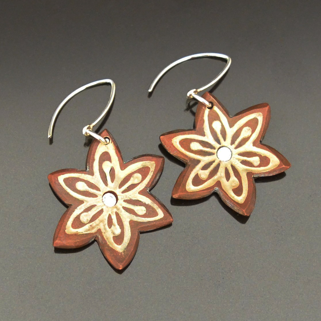 Mokume Gane Earrings by Tracey Spurgin of Craftworx Jewellery Workshops