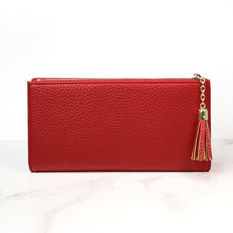 Red Faux Leather Purse - Large