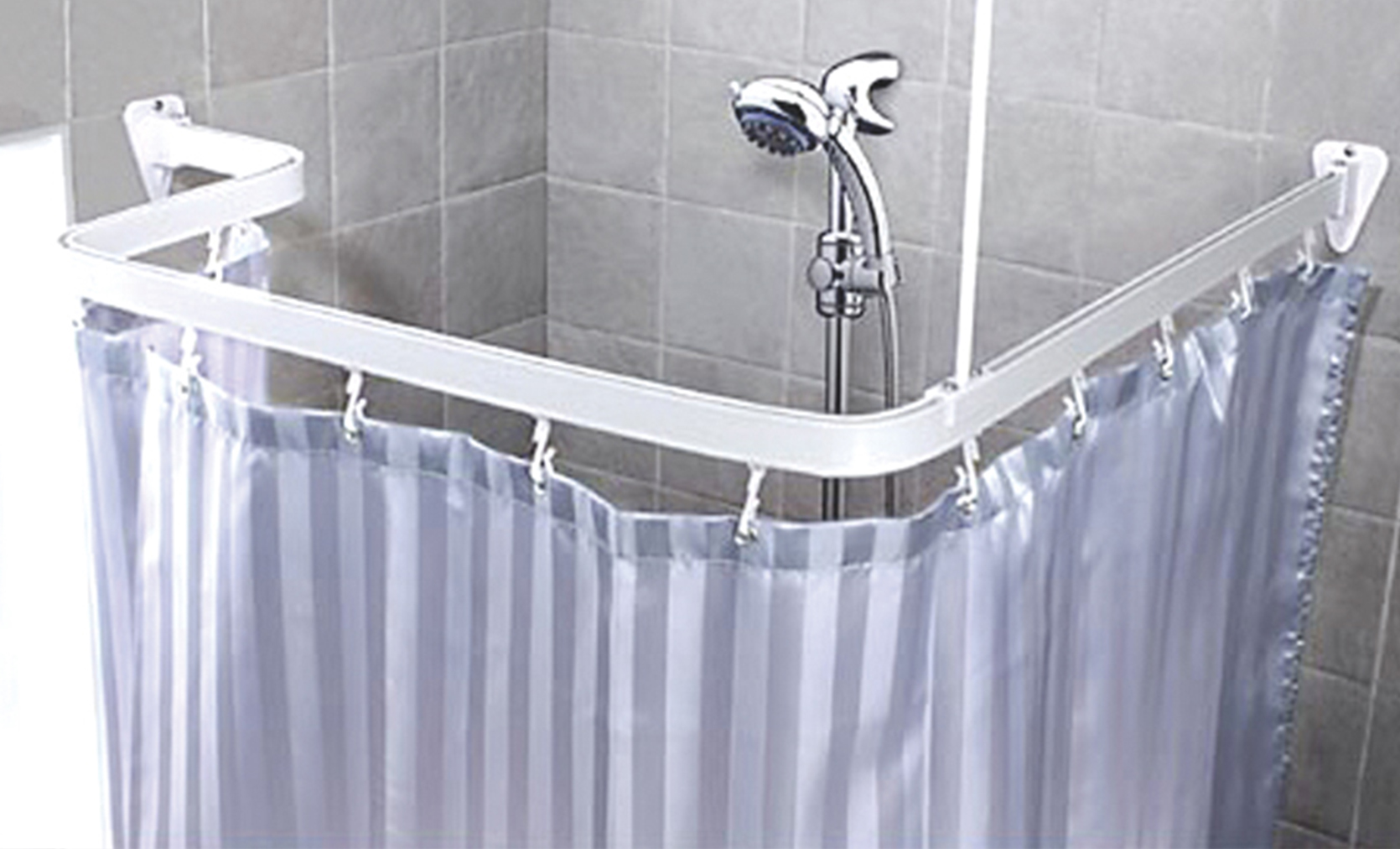 White Flexible Shower Curtain Rail Track