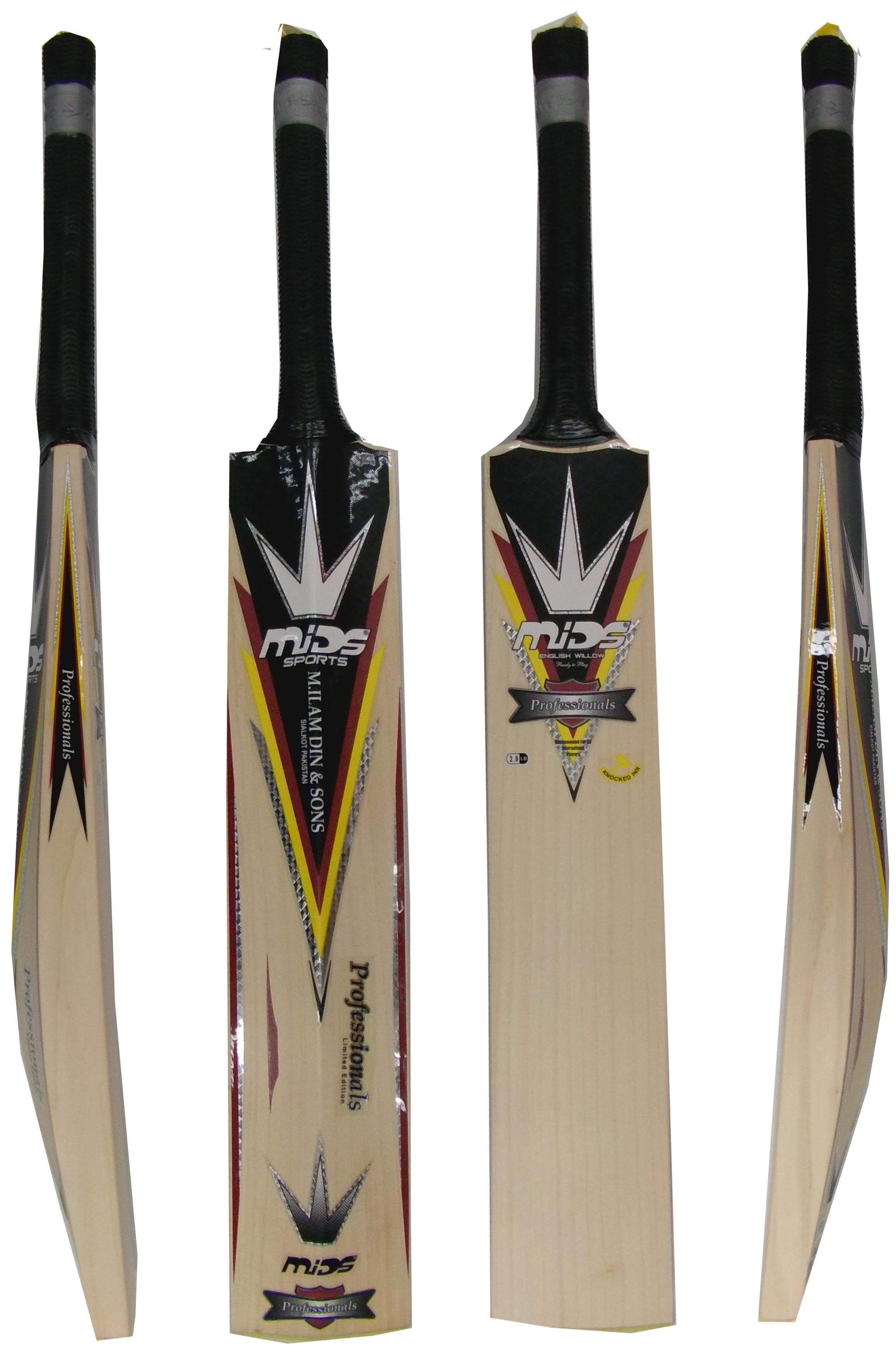 Mids Professionals Grade 1 English Willow Cricket Bat SH weight 2.9 Lbs