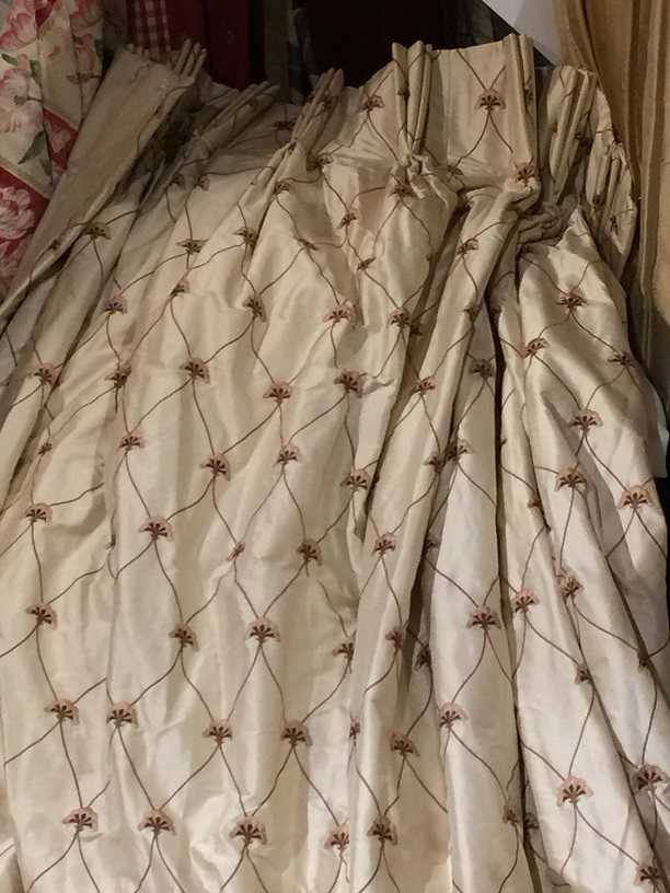 Cream Silk Embroidered Pinch Pleat Curtains W100 D87
