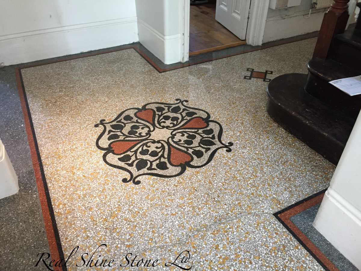 Restoration & Polishing terrazzo medallion - picture after