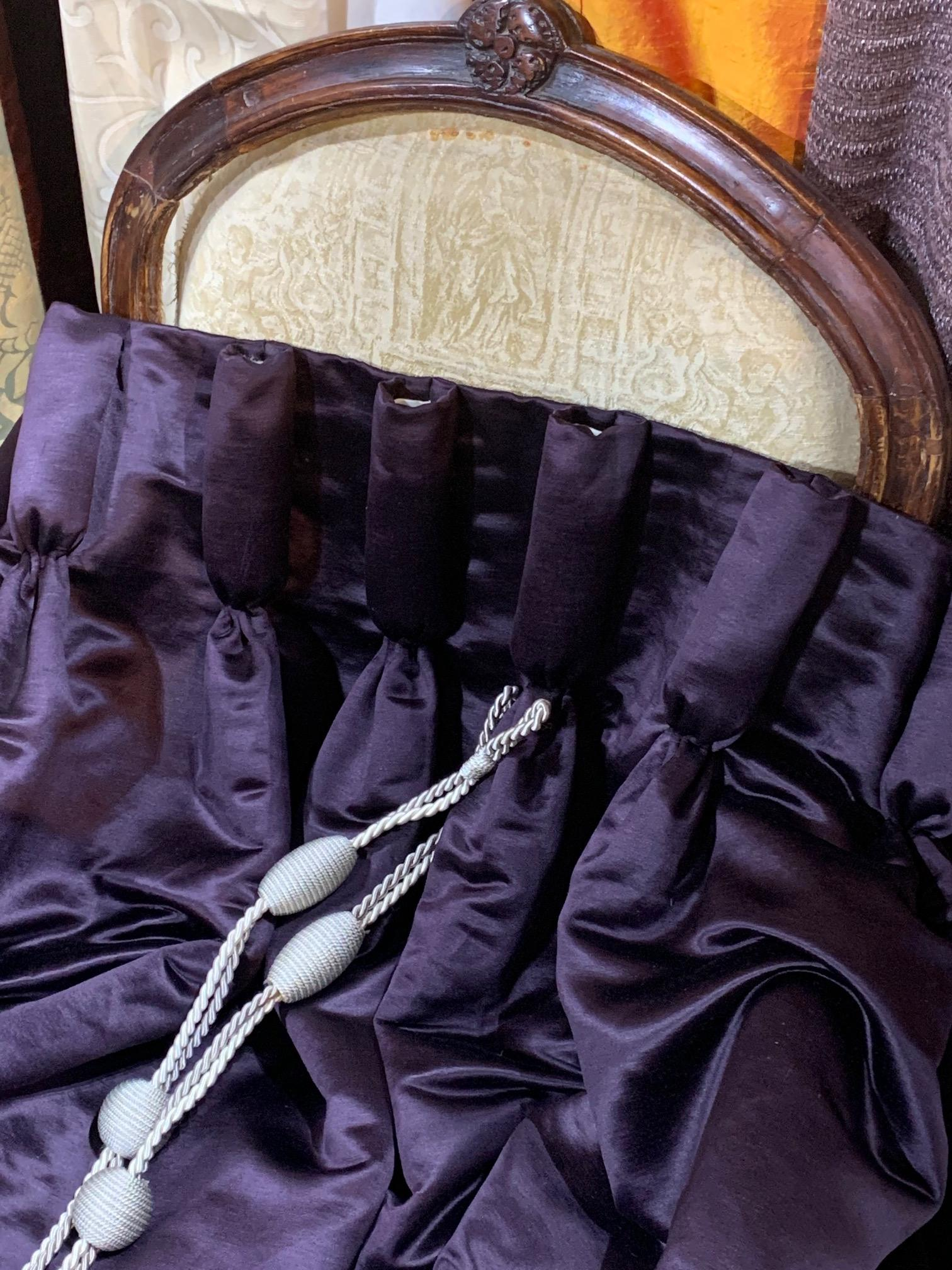Very Long Aubergine Interlined Sateen Curtains W260 D343