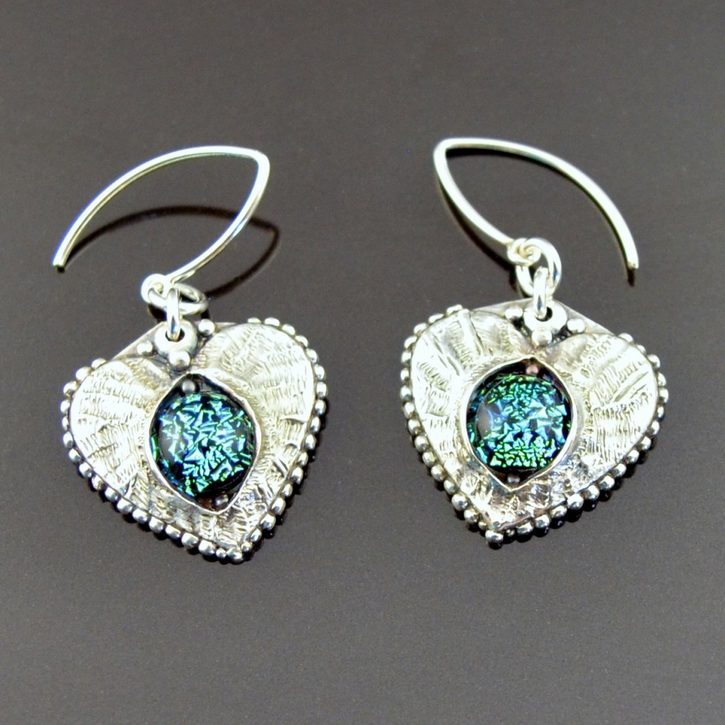 Glass and Silver Earrings by Tracey Spurgin of Craftworx Jewellery Workshops