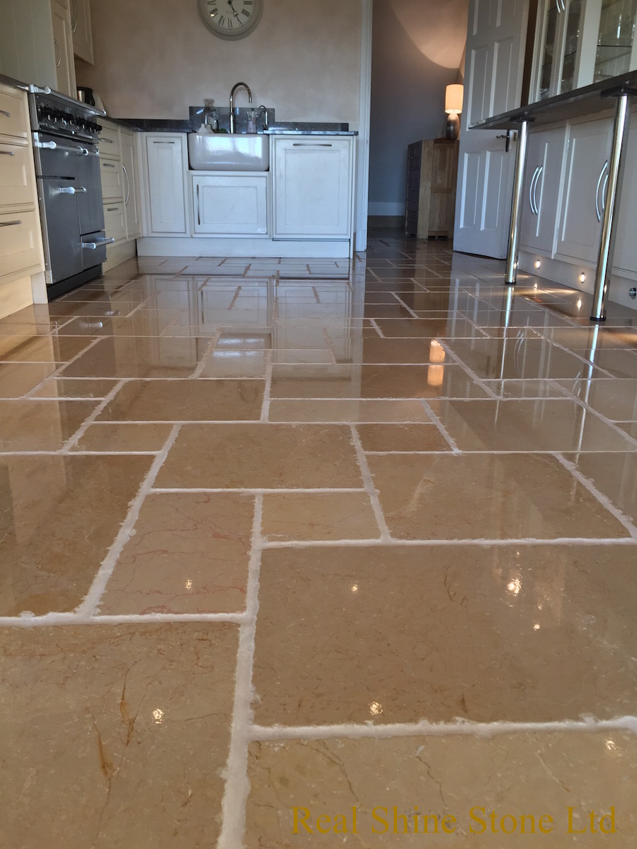 Limestone floor grout cleaning after