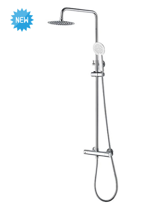 Round Chrome Thermostatic Exposed Fixed Shower