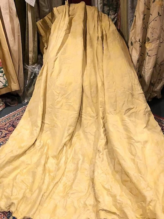 Gold Damask Pinch Pleat Interlined Curtains W168 D234