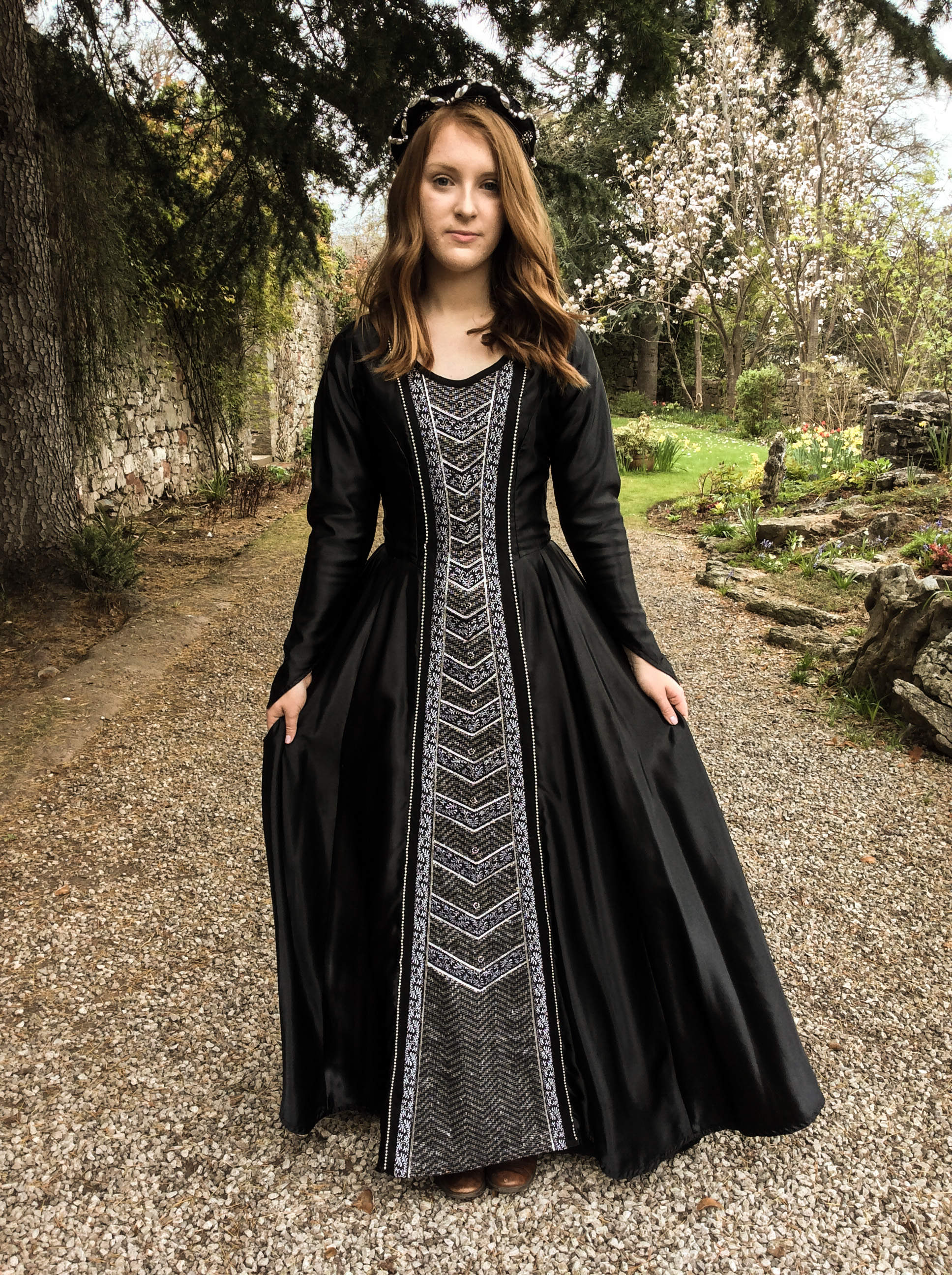 black & silver gown with brocade panel