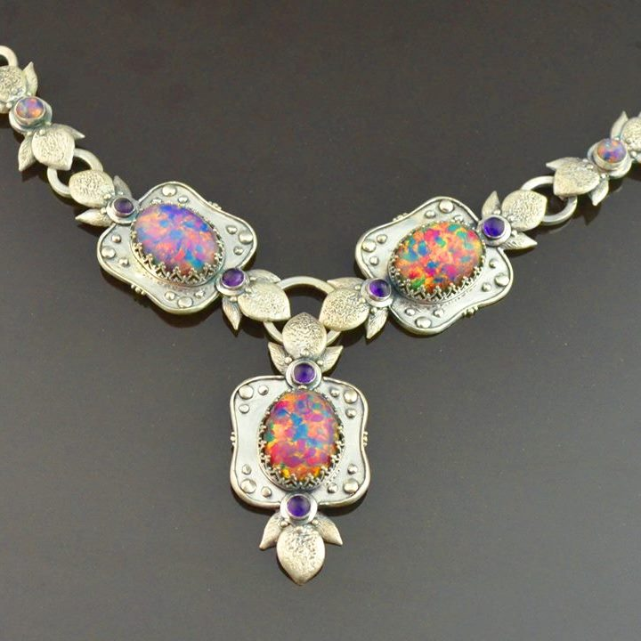 Opal Essence Stone Set Necklace by Tracey Spurgin of Craftworx Jewellery Workshops
