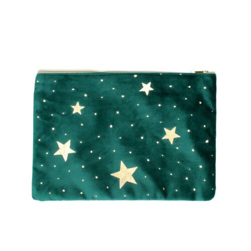 Green Velvet Make-up Bag with Gold Stars