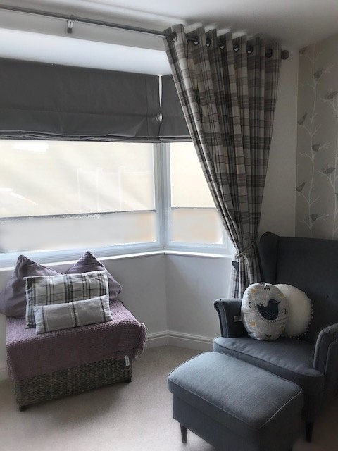 Modern Check Eyelet Curtains