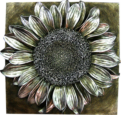 3D Silver coloured Sunflower wall art.