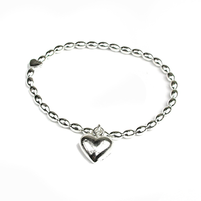 POM013 Puff Heart Bracelet with Heart Charm