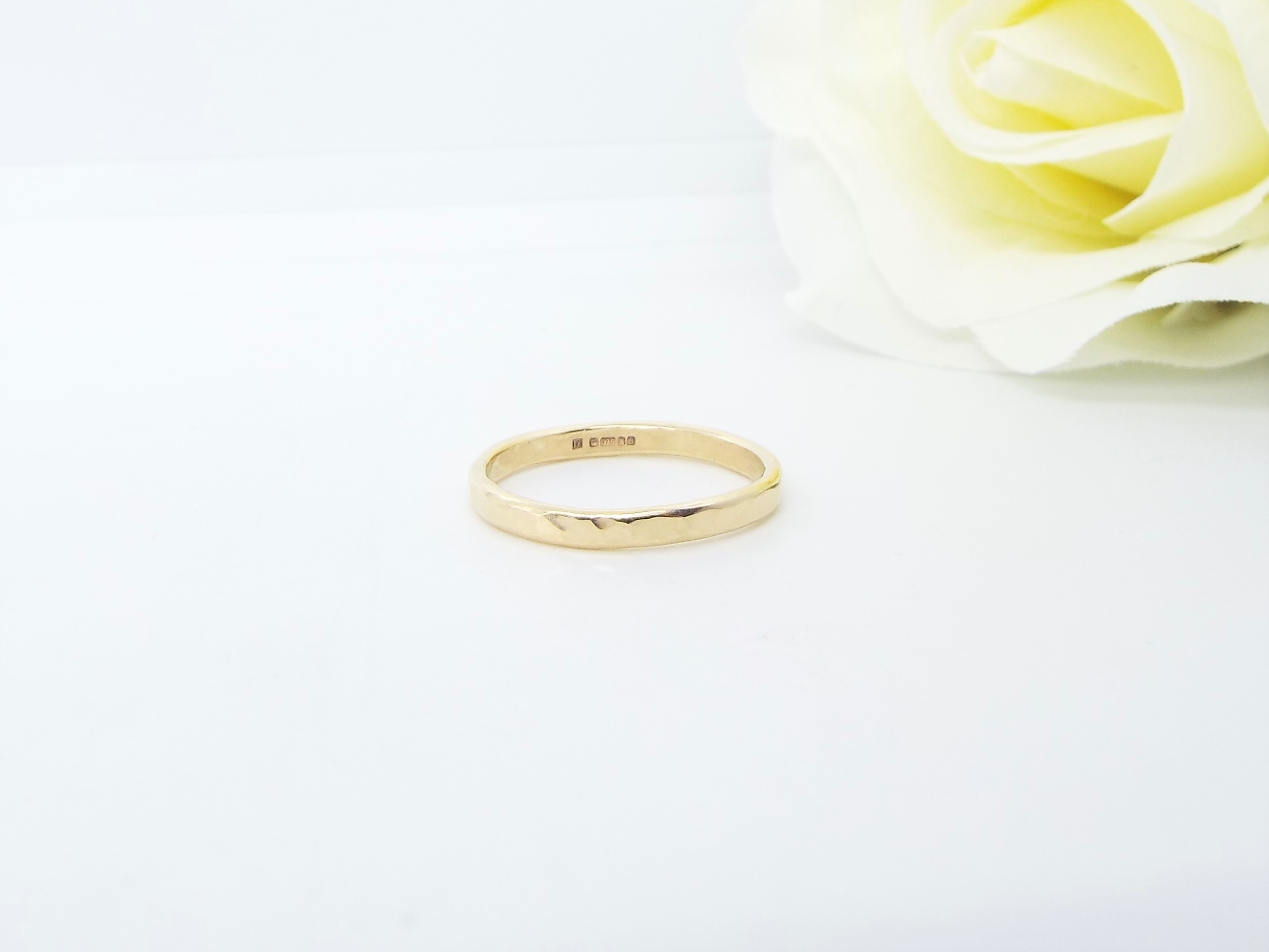 Hammered Gold Wedding Ring - Slim