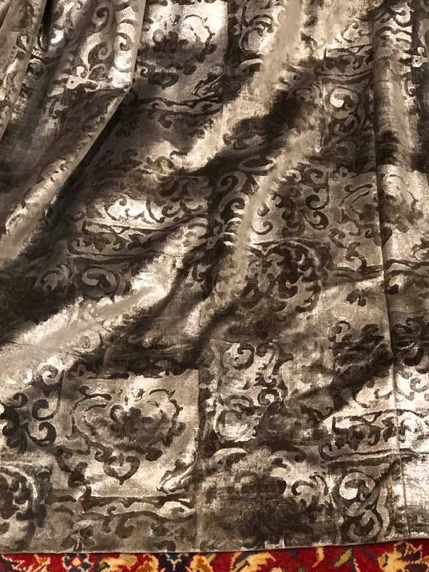 Grey/Silver Velvet Pencil Pleat Curtains W410 D230