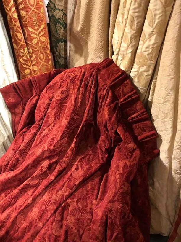 Fab Red Interlined Damask Pinch Pleat Curtains W350 D246