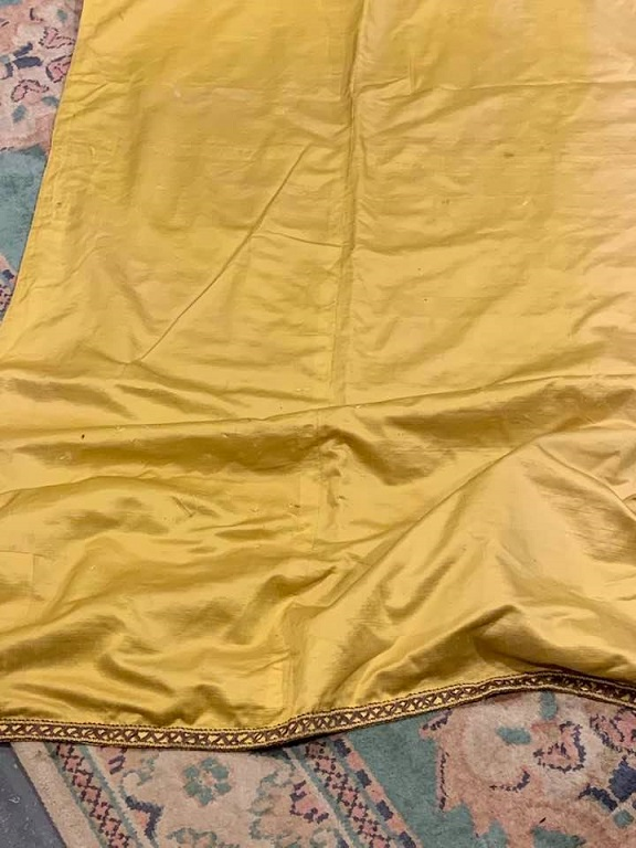 Long Antique Acid Yellow Silk Curtain Panel W126 D290