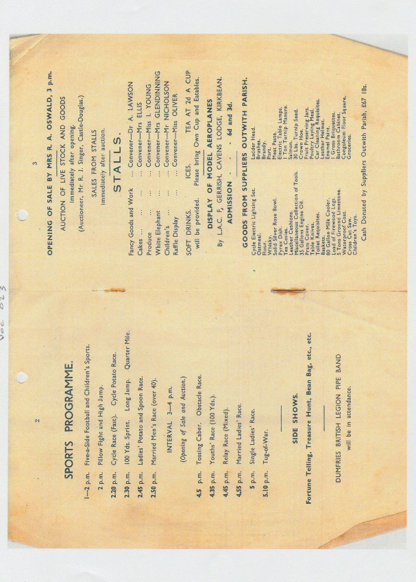 Programme for the Fete held at Cavens House, Kirkbean, on July 21st, 1945 in aid of the Kirkbean Community Centre, pages 2 and 3