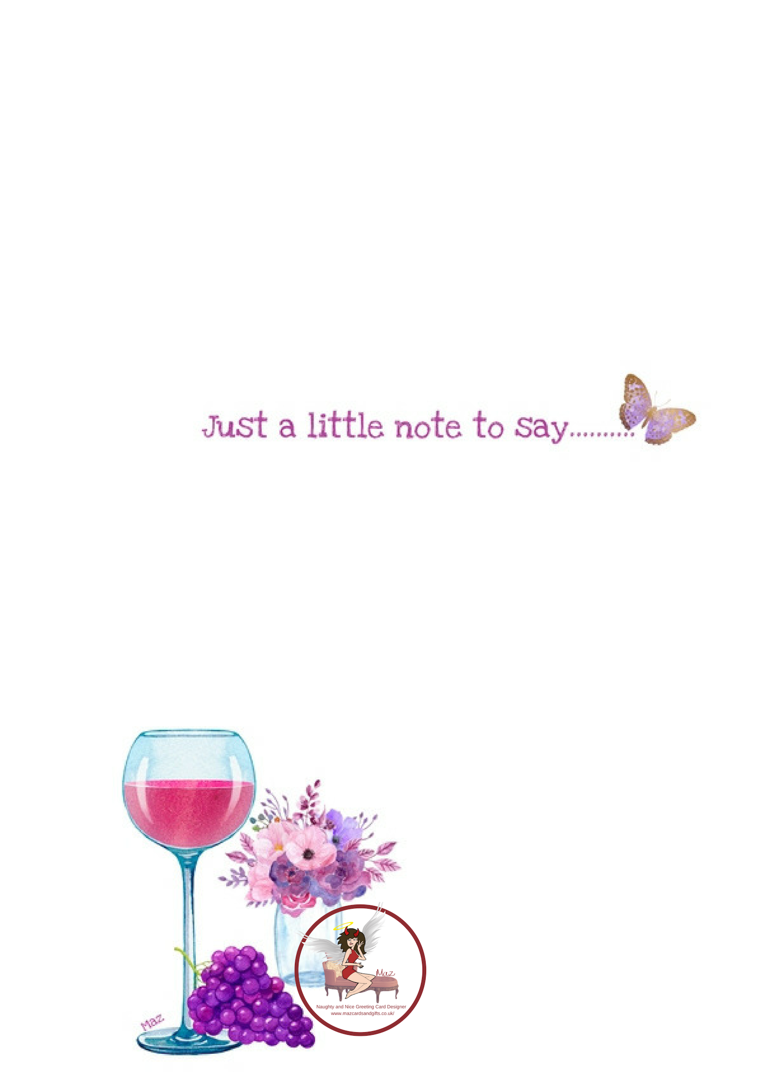 Just a little note to say ~ Wine ~ Grapes ~ Flowers ~ Order No 169