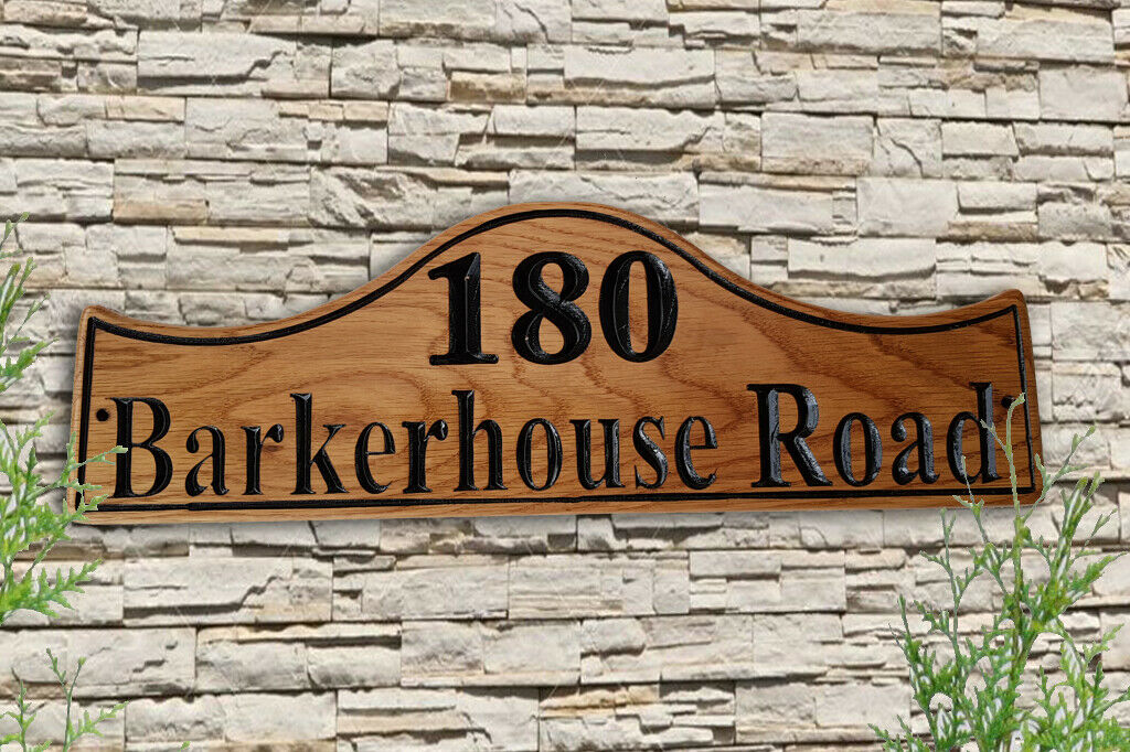 Personalised Carved House Sign Number Name Wooden  Outdoor Address Plaque Pine