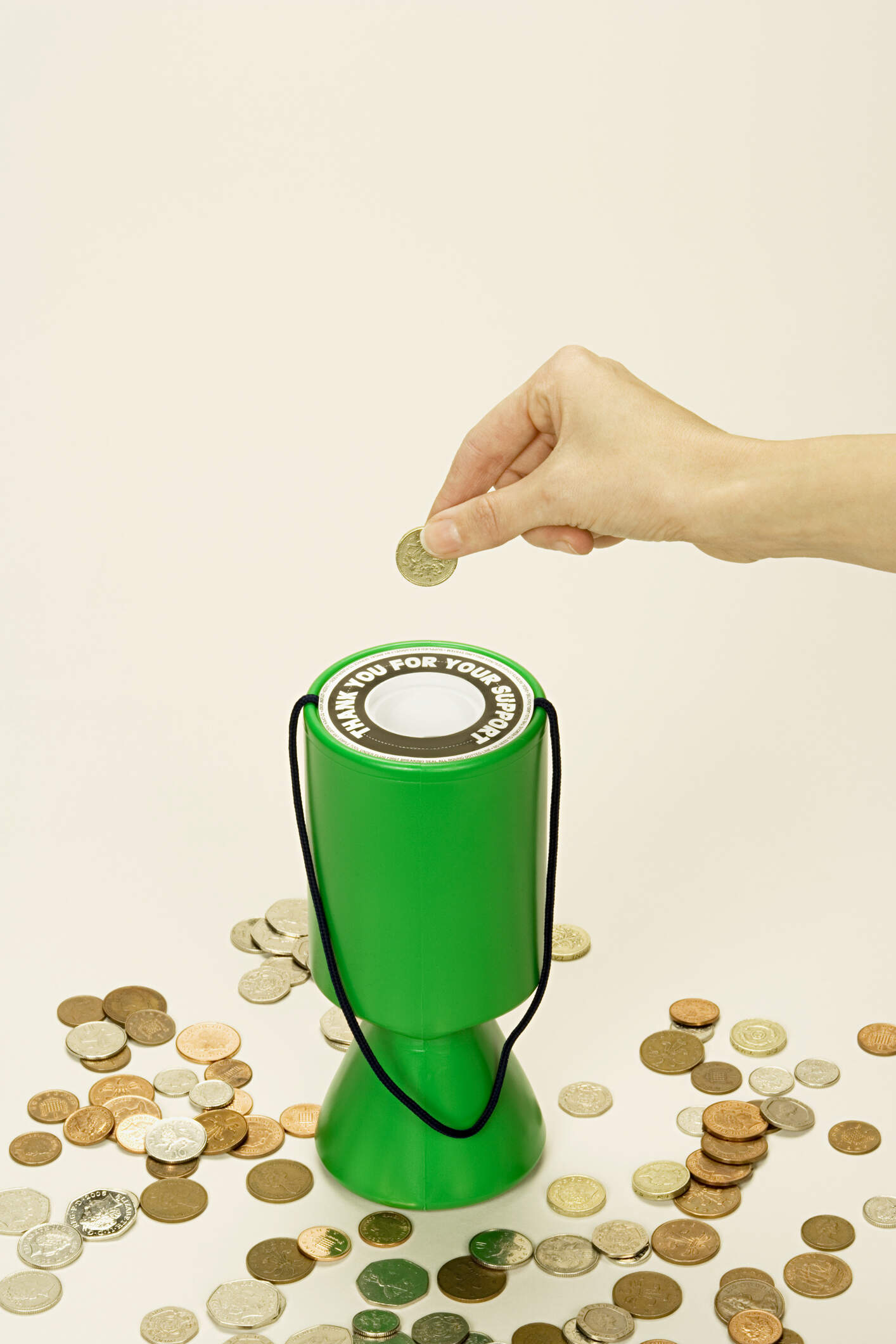 Collecting box with coins