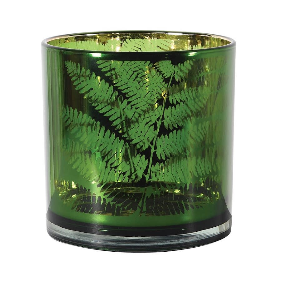 Green Fern Hurricane Candle Holder