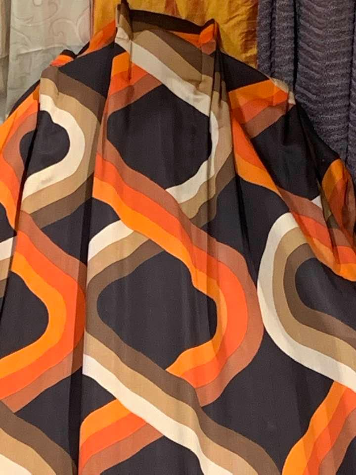 Very Funky Mid-Century Pinch Pleat Lined Curtains