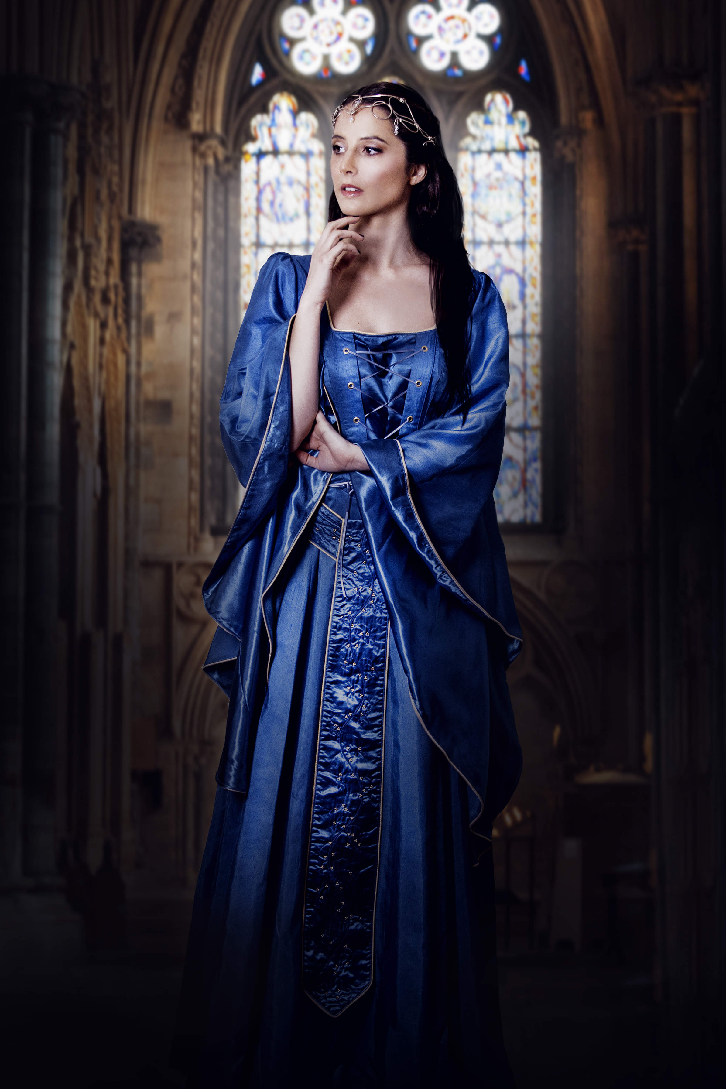 Evelyn. Blue medieval gown with batwing sleeves and lacing on the front