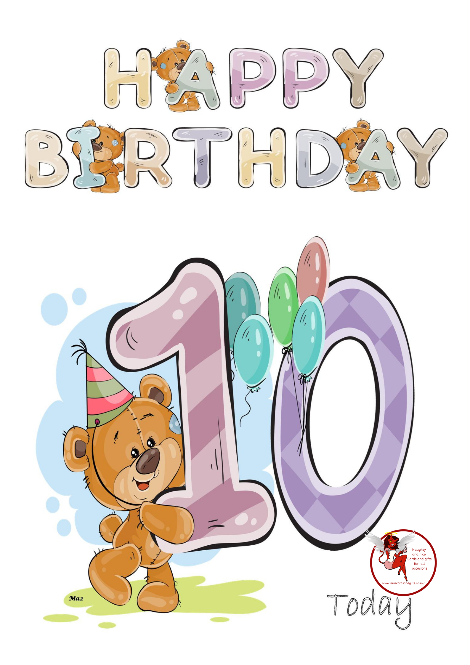 Birthday Children -Water Colour Teddy Age 10 - Order No 045