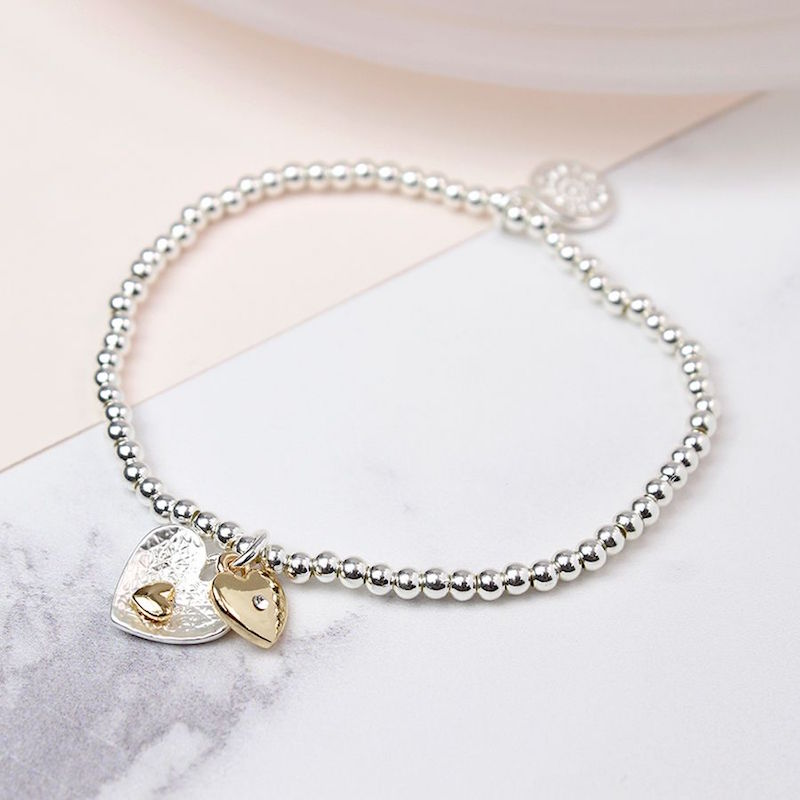 Stretchy Silver Bracelet with Silver & Gold Heart Charms