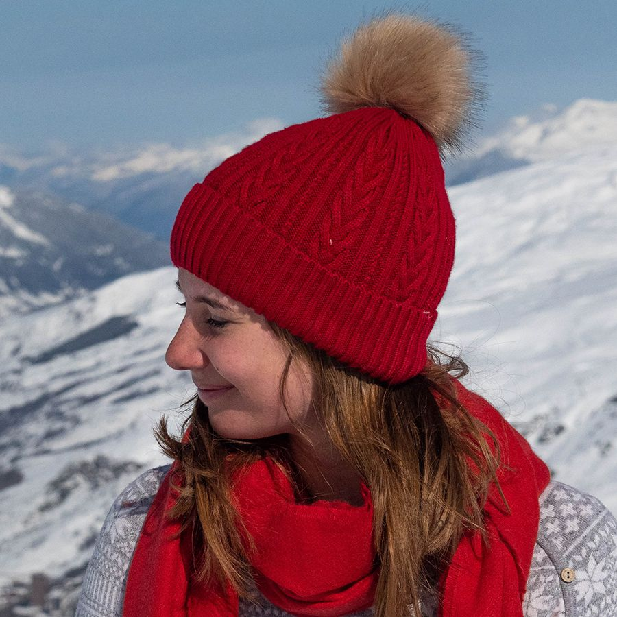 Deep Red Bobble Hat