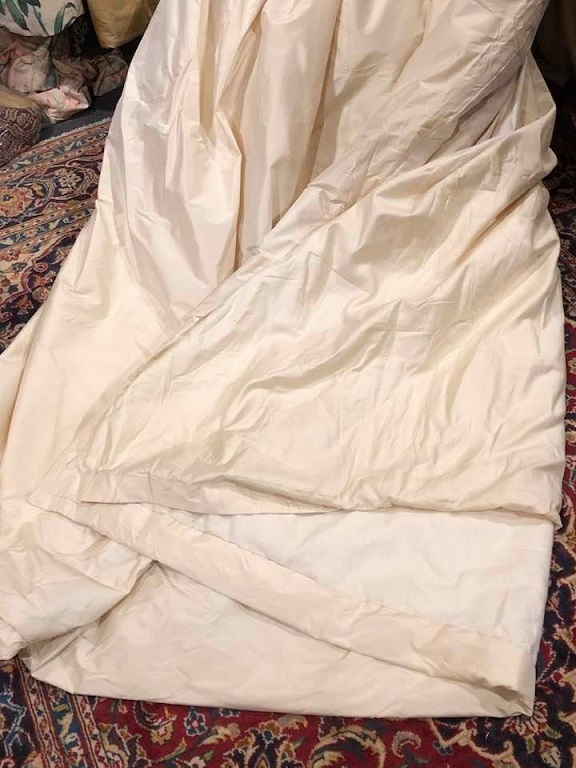 Large Cream Silk Pencil Pleat Curtains W254 D234