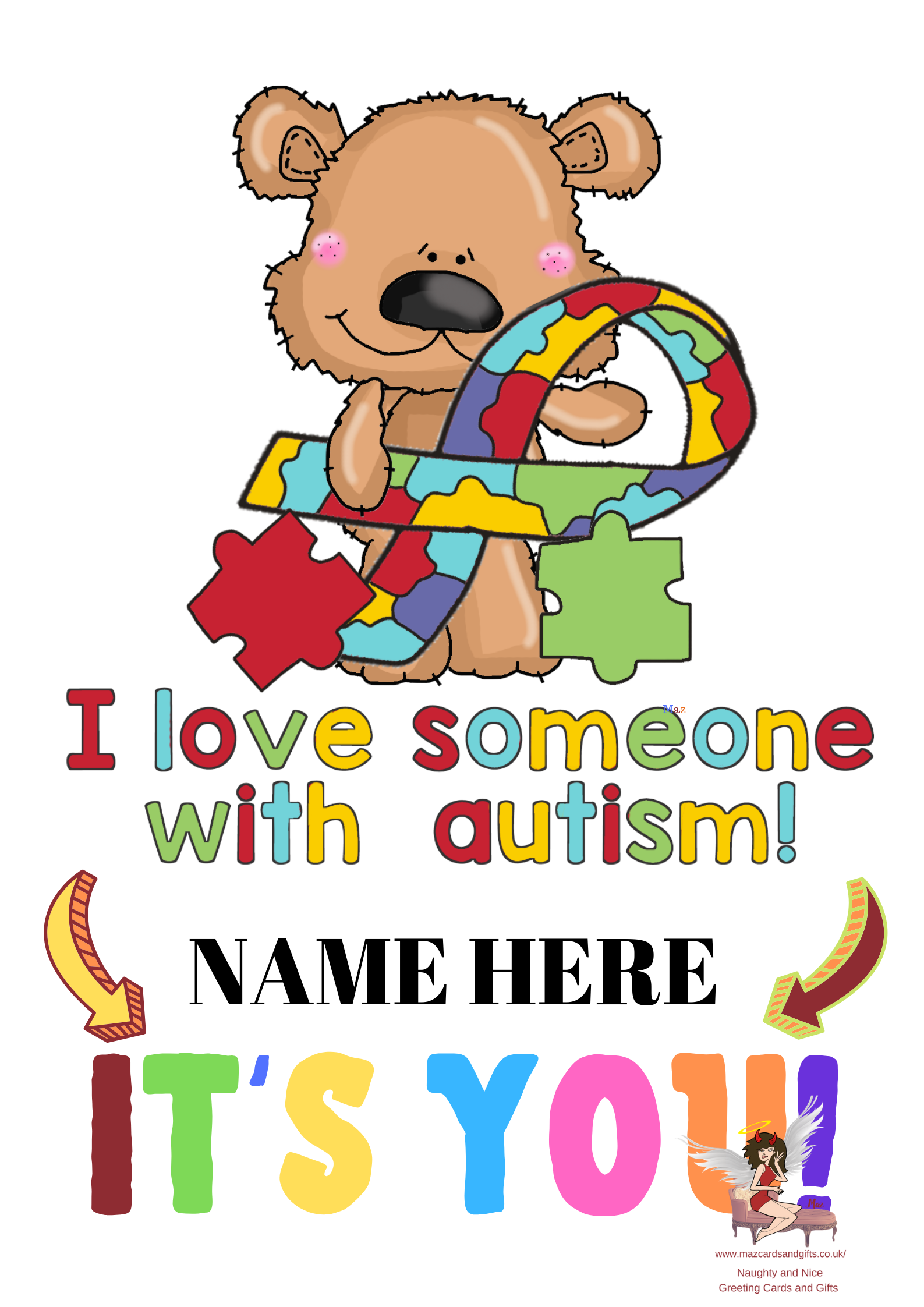 I love someone with autism ~ Personalised Greeting Card ~ Order No 270