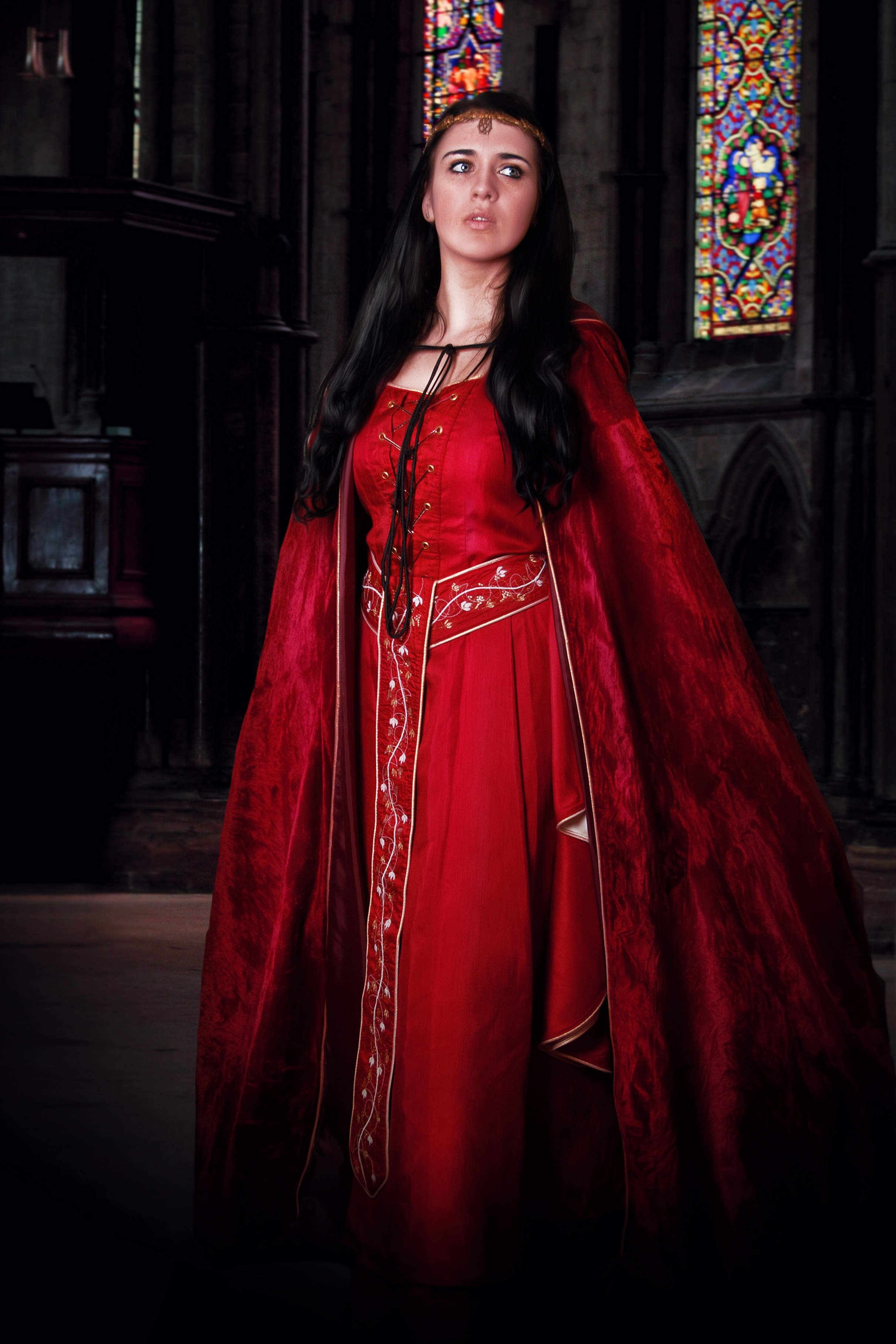 Red medieval gown with batwing sleeves and false lacing on the front bodice