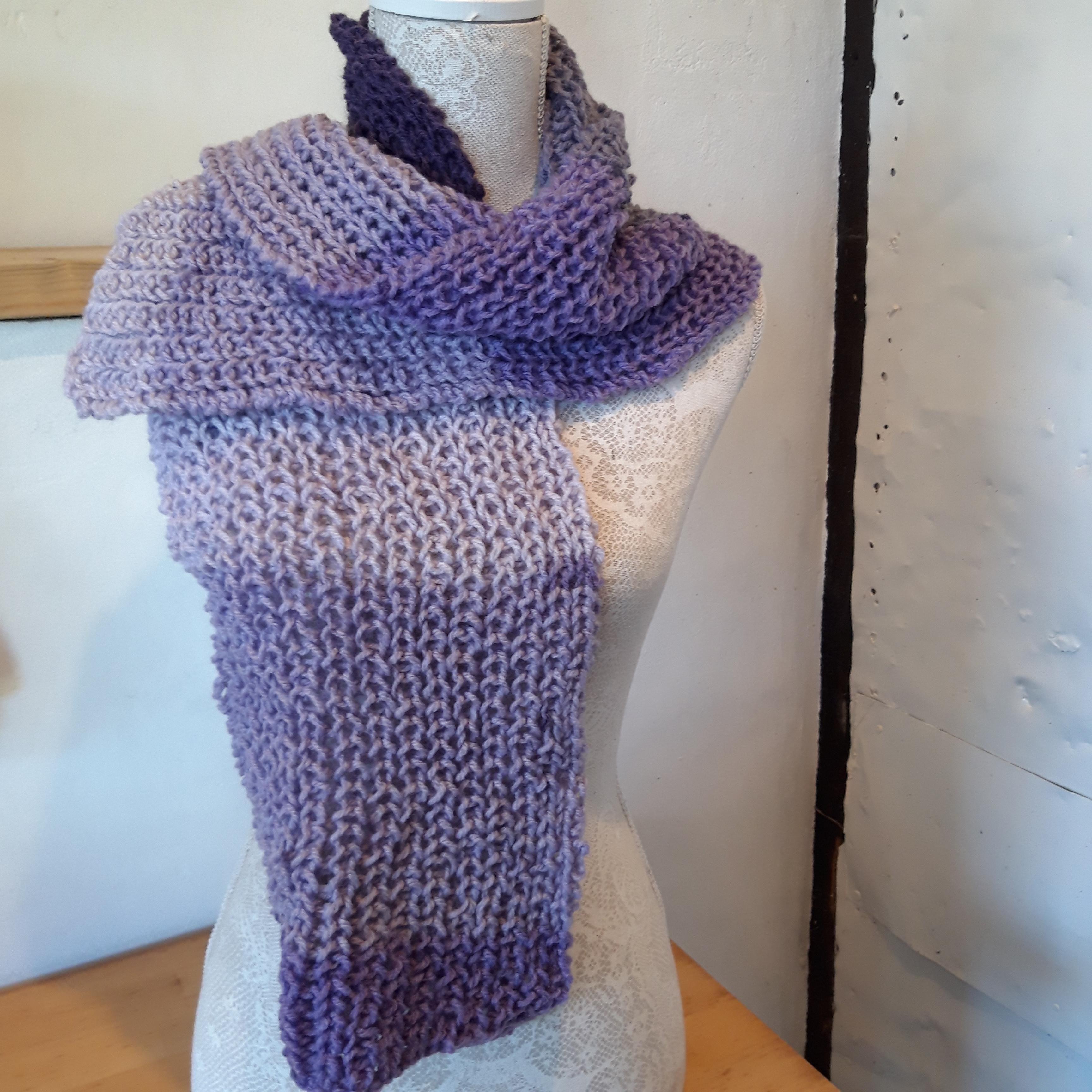 Hand Knitted Scarf in Purples
