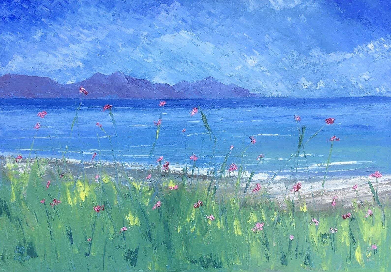 Seascape oil on canvas, The Rivals, Dinas Dinlle. Dawn Owen artist at Clebran