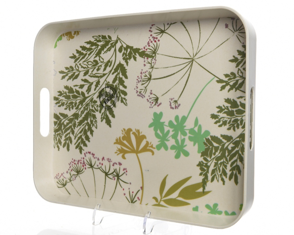Bamboo Tray with Botanical Print ROS005