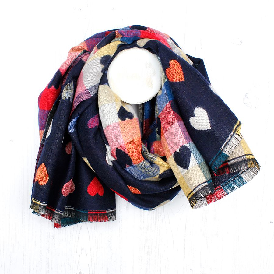 Reversible Navy Scarf with Hearts