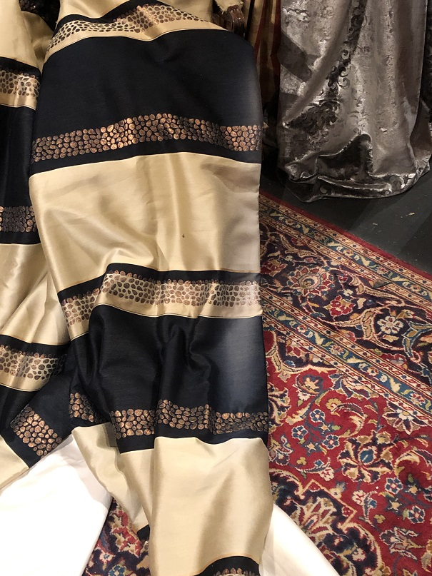 Long Black & Gold Pinch Pleat Interlined Curtains W96 D250