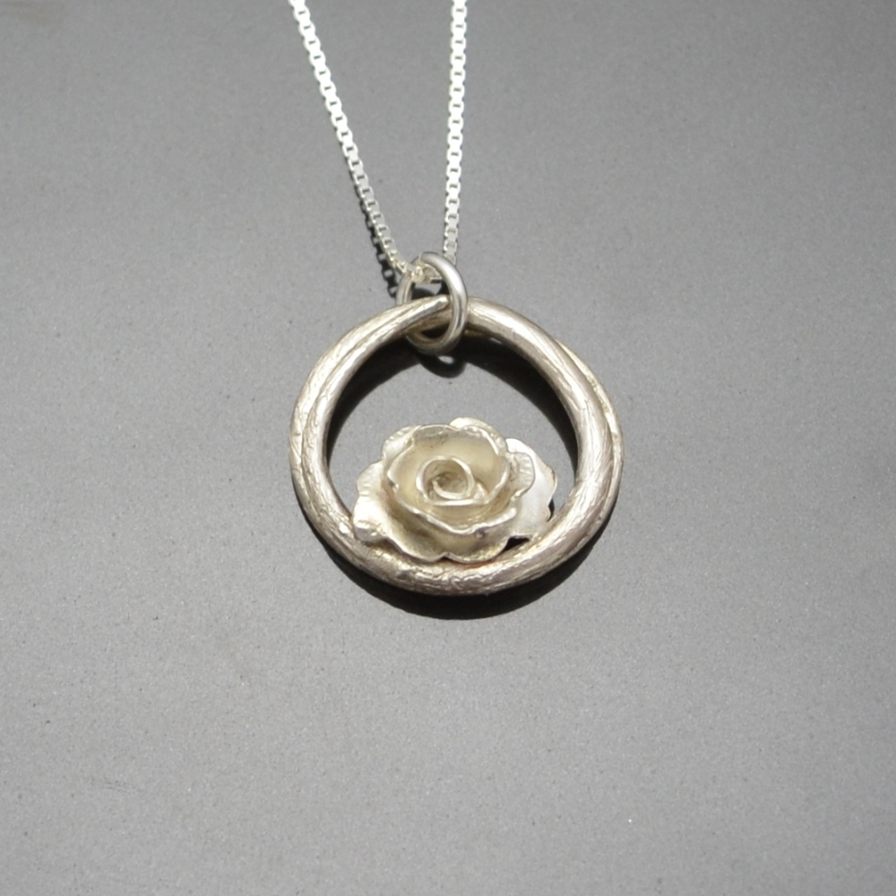 English Rose Pendant by Tracey Spurgin of Craftworx Jewellery Workshops