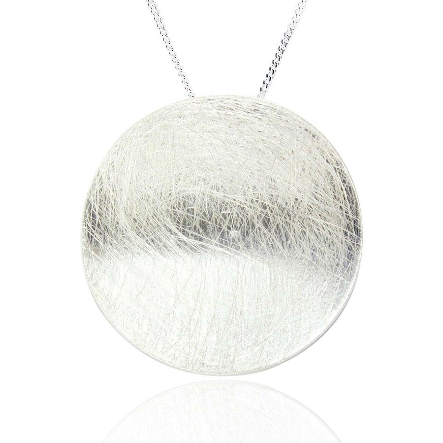 Silver Circle Pendant with a Brushed Finish