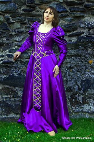 Purple lustre medieval gown with gold trimmings and silver beadwork