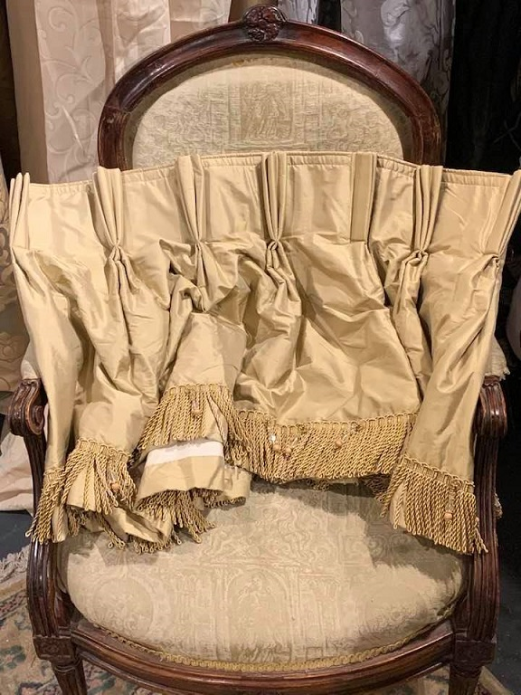 2 Pairs Long Gold Silk Pencil Pleat Interlined Curtains