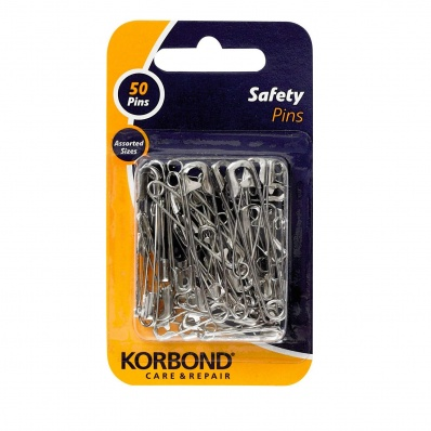 Korbond Safety Pins Silver 50 Pieces