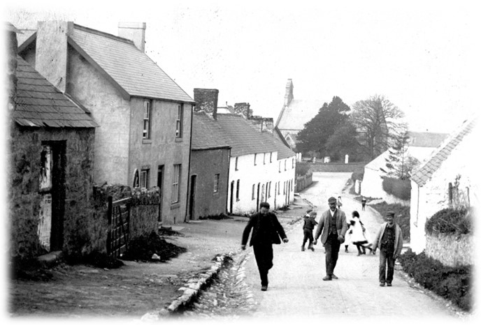 Picture of old Llandegla with adults walking and children playing