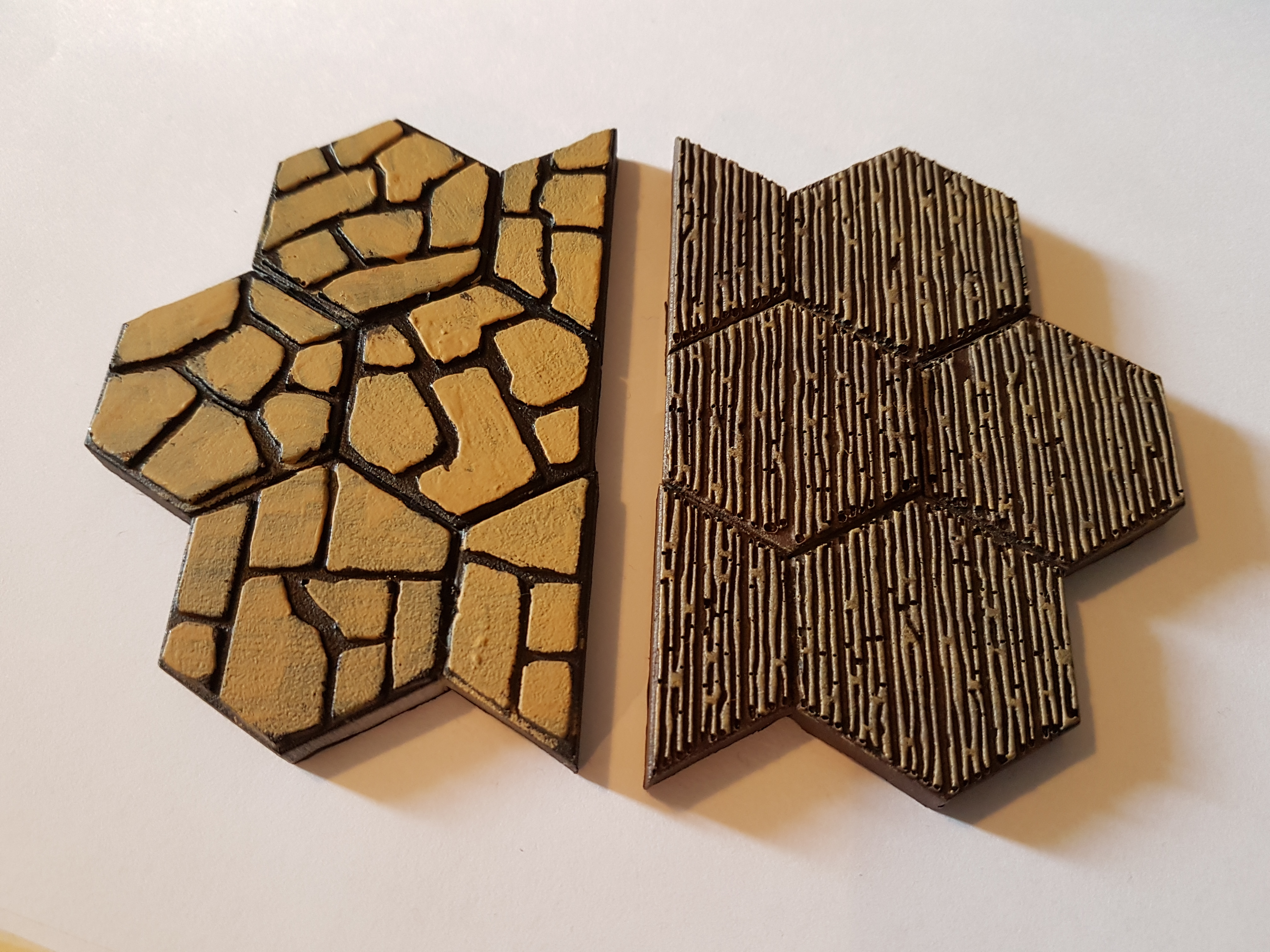 0012 Wood and Large Cobblestone Hexagon Floor Mould