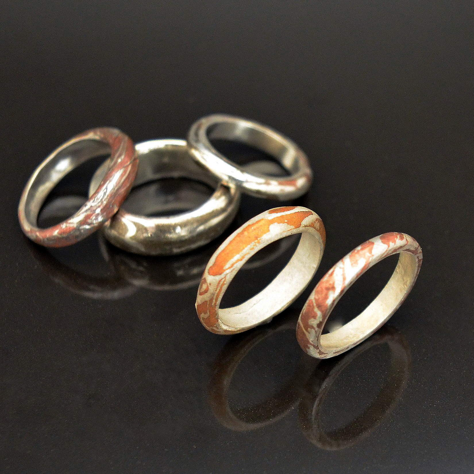 Mokume Gane Rings by Tracey Spurgin of Craftworx Jewellery Workshops