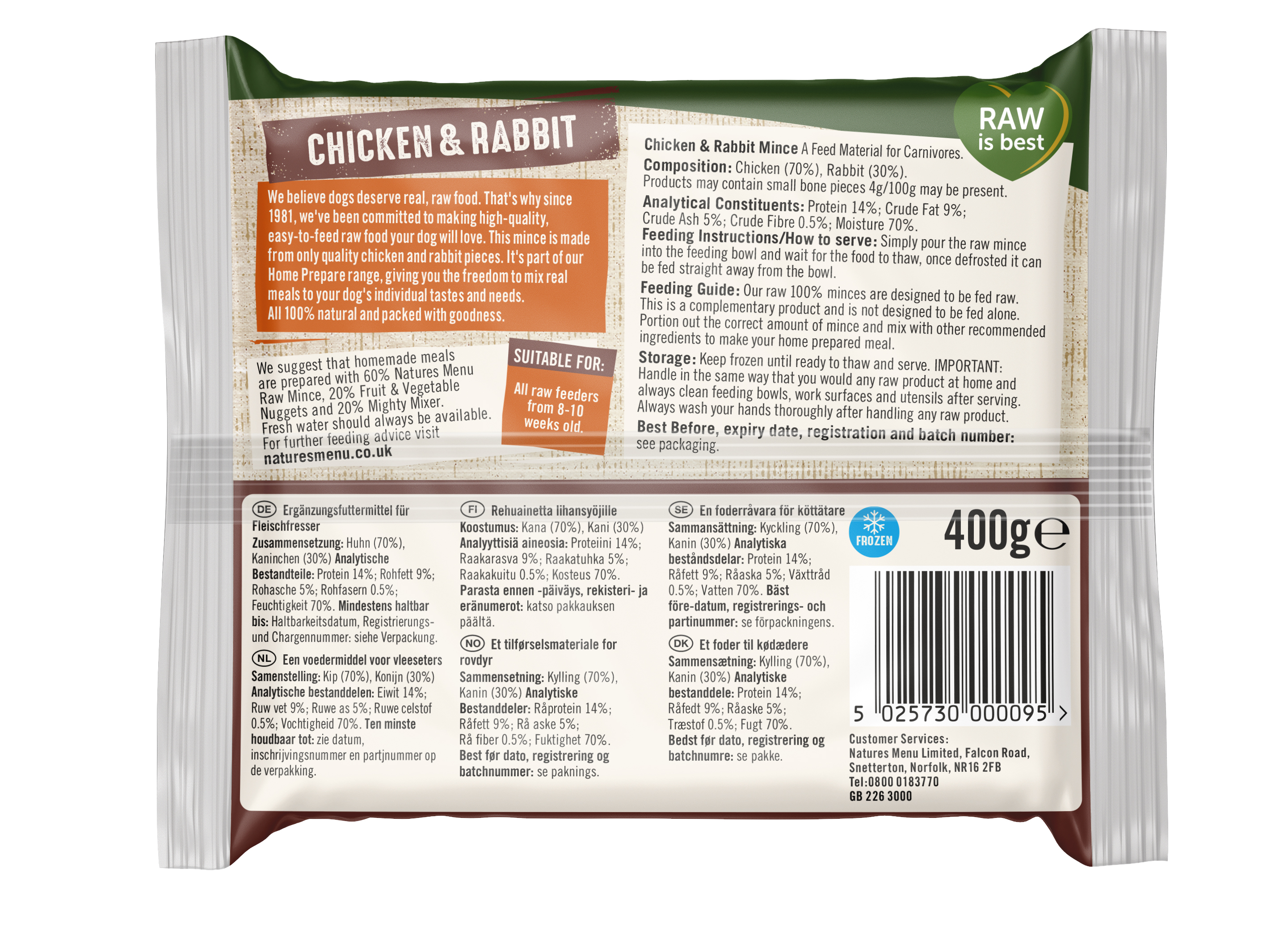 Nature's Menu 400g Frozen Minces Chicken & Rabbit