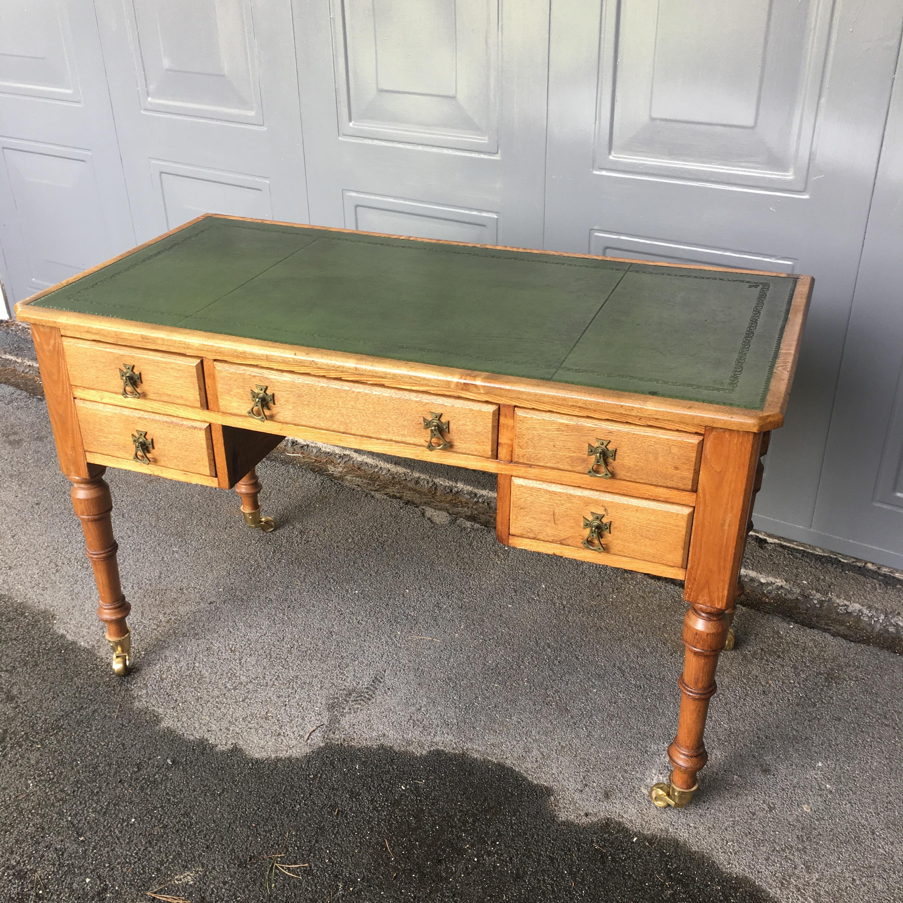 Ash 5 Drawer Writing Table by Maple & Co c1870