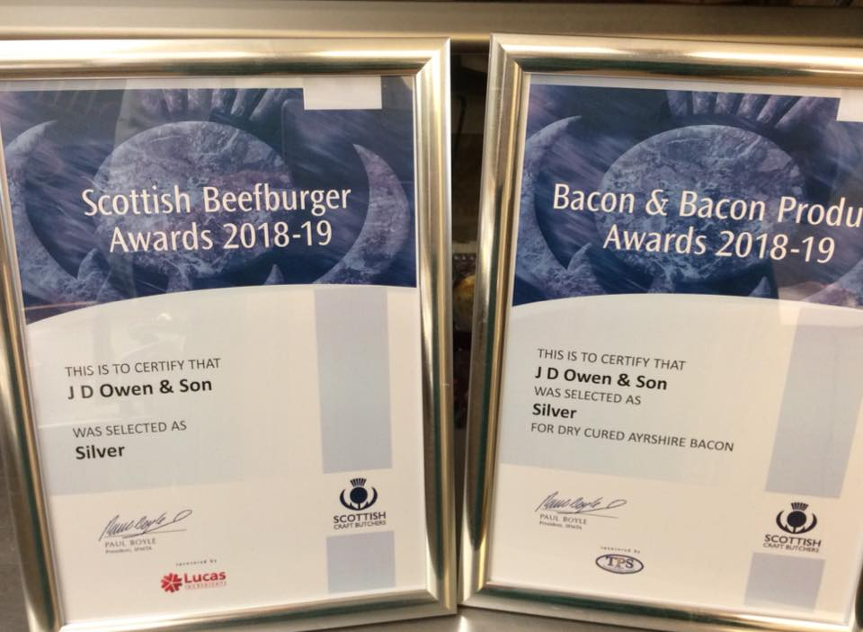 Awards won in 2018-19 by John D Owen butchers Newton Stewart include the Scottish Craft Butcher Beefburger Award and the Bacon & Bacon Produce Award